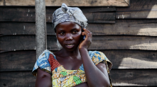 mVAM respondent in Mugunga III, DRC. Credit: WFP/David Orr